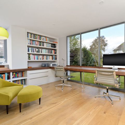 Jazzy Home Design In Bright And Open Impression: Striking Home Office With  View Long Office Desk Project ~ HOMESBRO Decoration Inspiration
