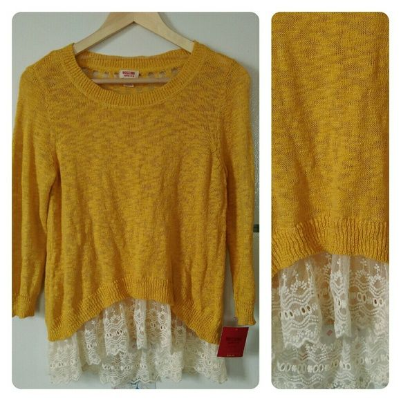 Mossimo Dark Yellow Sweater, Lace Edging. NWT NWT | Yellow sweater ...