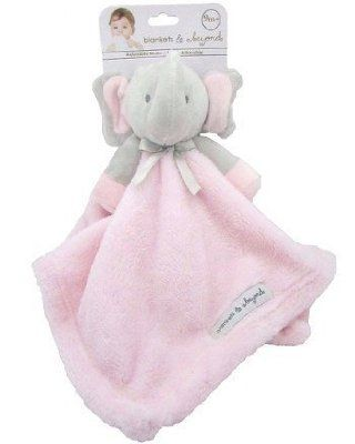 Blankets and Beyond Grey   Pink Elephant Baby Security Blanket Plush ... 9a7df8e7b