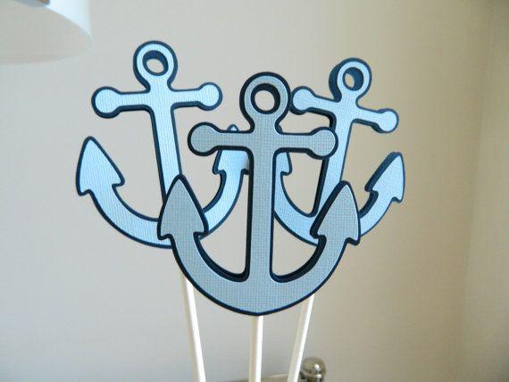 Light Blue Anchor Centerpiece Sticks