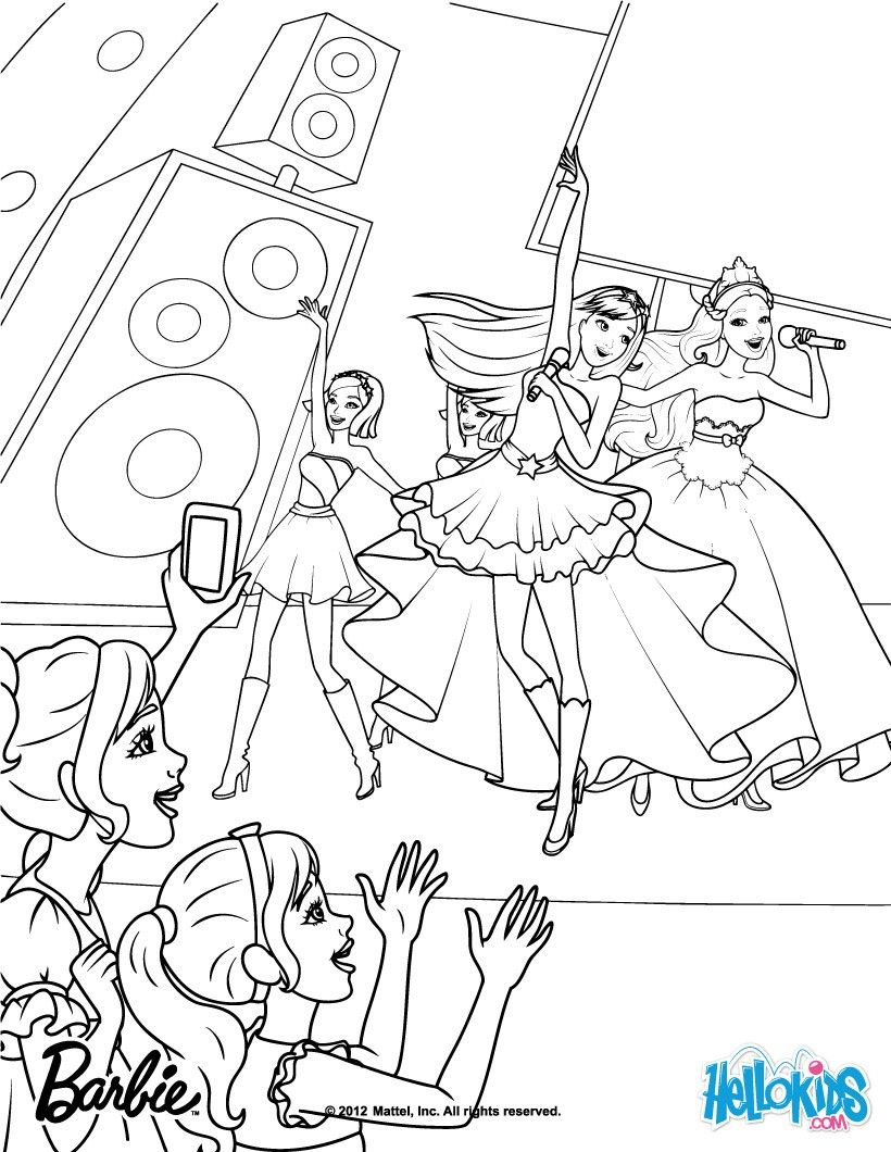 Keira And Tori S Show Barbie Coloring Page More Barbie Princess And The Popstar Coloring Pages