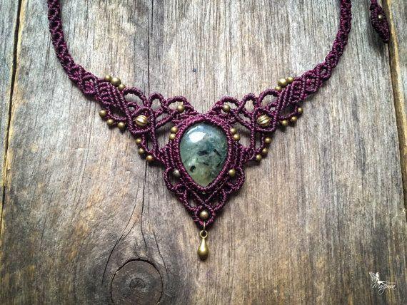 Macrame necklace elven tiara Prehnite Custom door creationsmariposa