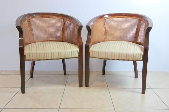 Charmant Mid Century Modern ST Timothy Barrel Chairs With Cane Back Set