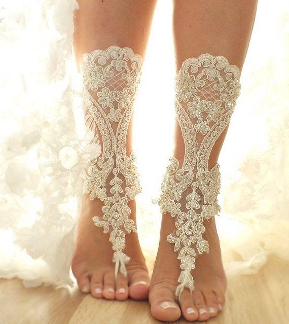 free ship Ivory bridal anklet ivory Beach wedding by ByVIVIENN