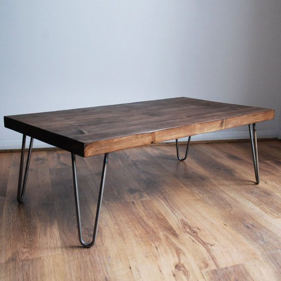 rustic vintage industrial solid wood coffee table bare metal hairpin legs dark etsy. Black Bedroom Furniture Sets. Home Design Ideas