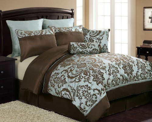 Chocolate Brown And Blue Bedding Sets Comforter Sets Bed