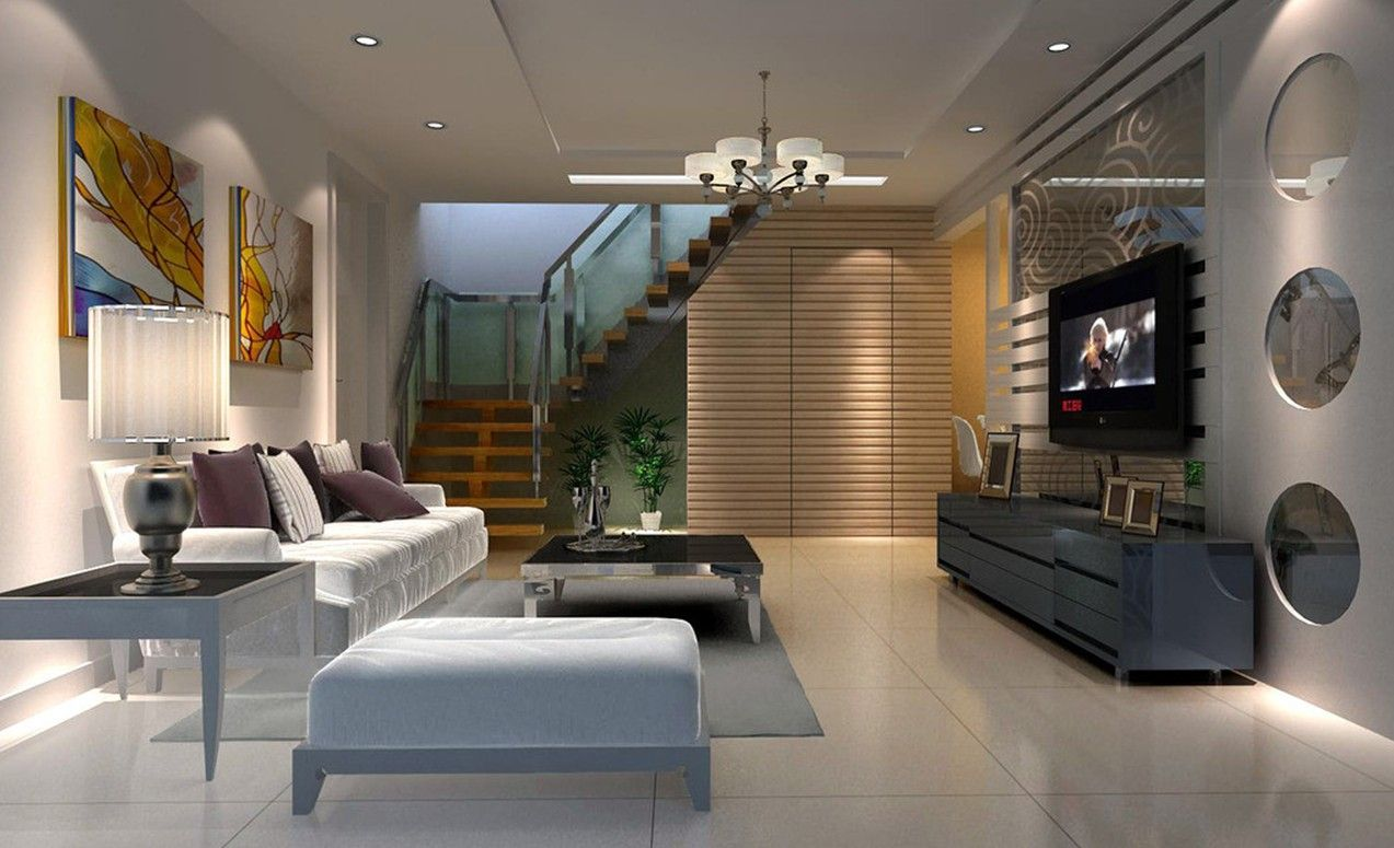 Industrial and luxury living room luxury villa living for Interior design of living room with stairs