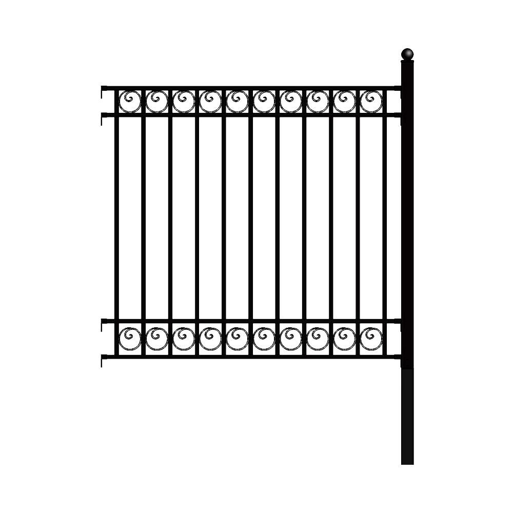 Aleko Dublin Style 5 Ft X 5 5 Ft Black Diy Iron Fence Panel
