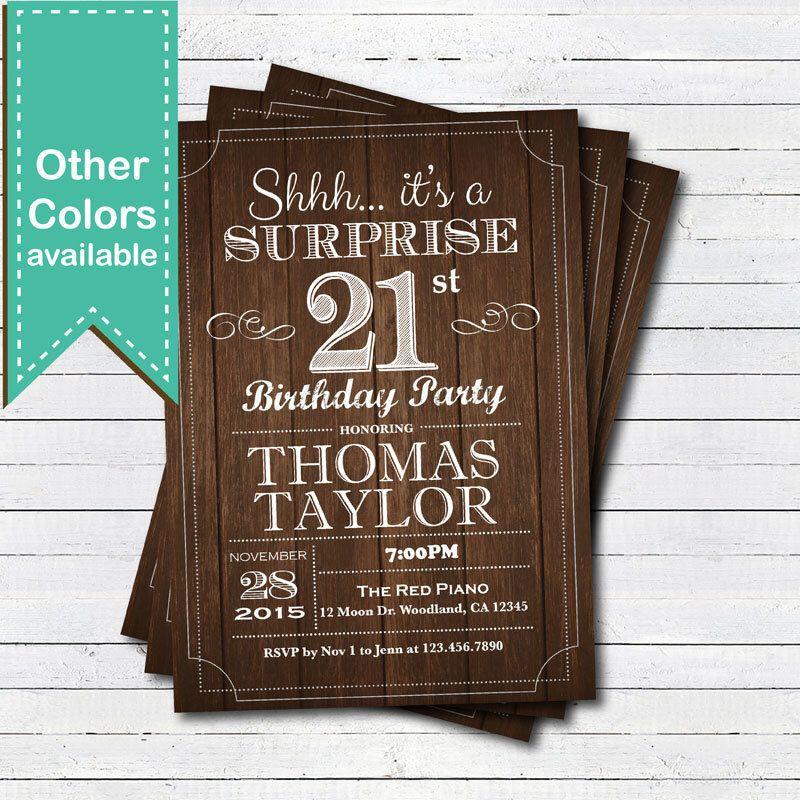 Surprise 21st birthday invitation. Rustic wood Adult, man, any age ...