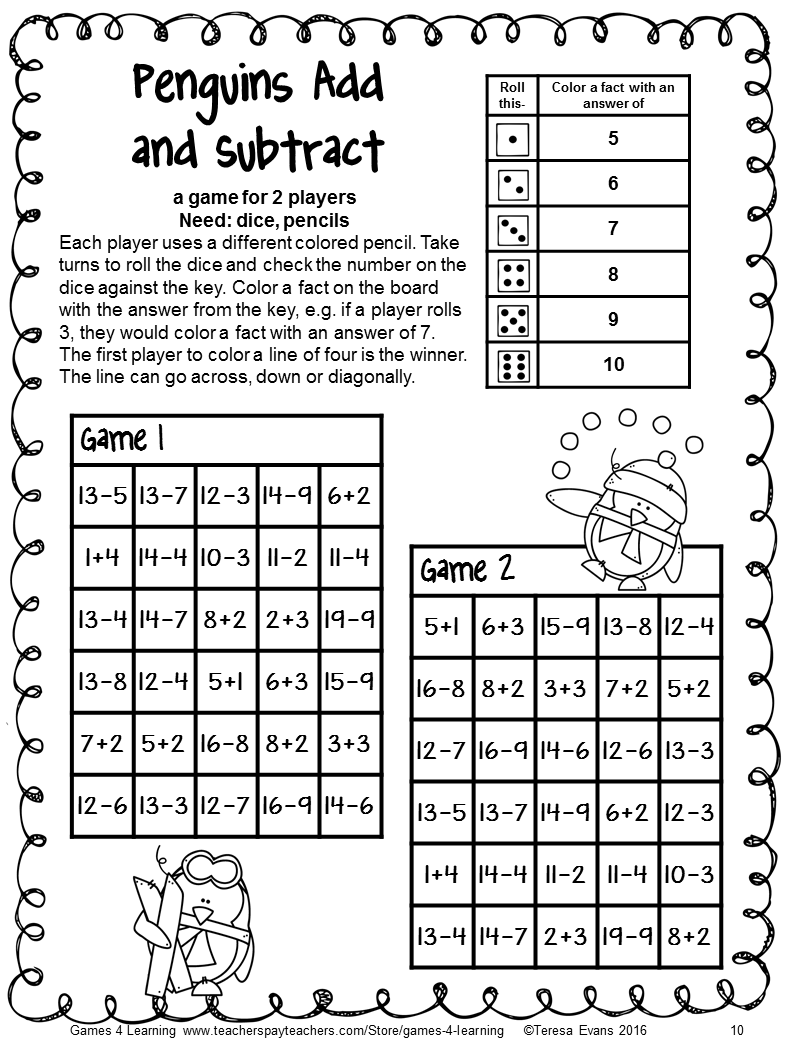 Penguin Math Games: NO PREP Addition and Subtraction Games: Winter ...