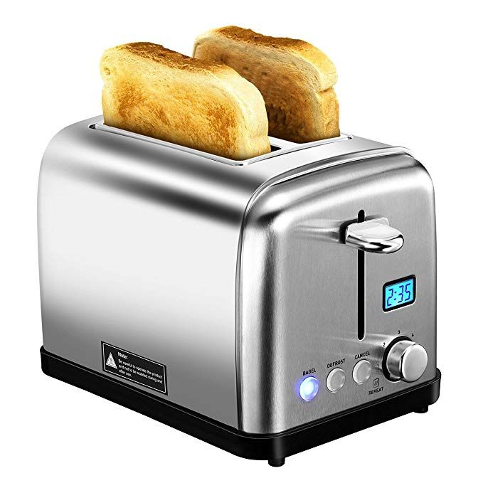Waffles and Bread Black 2 Slice Toasters Bread Stainless Steel Compact Toaster Extra Wide Slots for Household Kitchen Breakfast BAGEL DEFROST CANCEL Function Upgrade Toaster Muffins