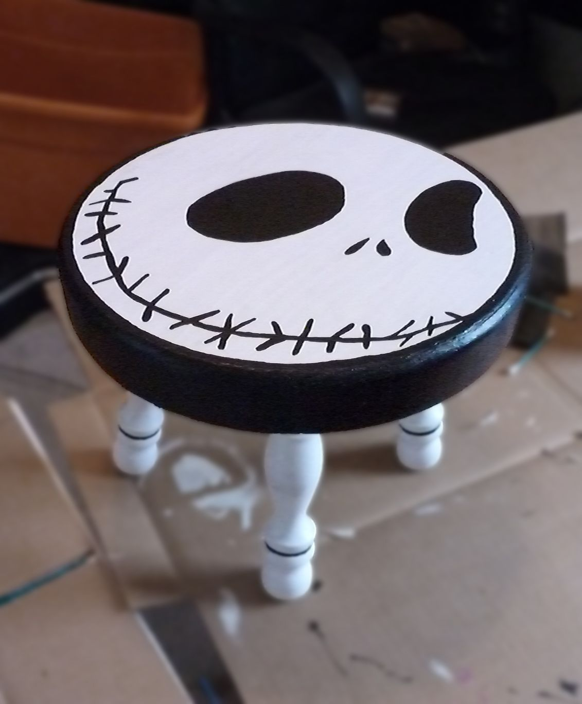 nightmare before christmas chair beach wheelchair wheels the  wooden nursery stool d