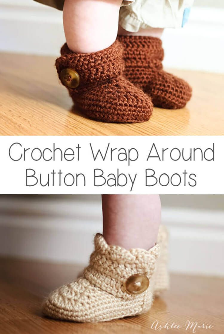 free crochet pattern for these baby sized wrap around baby boots ...