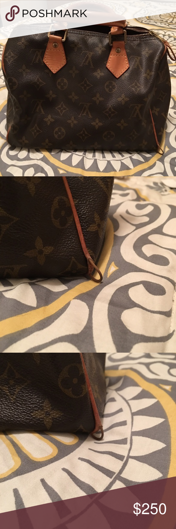 Louis Vuitton Speedy 25 Louis Vuitton Speedy 25. Dust bag not included. Piping on two corners exposed. The leather has browned some and shows wear, but it isn't dry/cracking. Canvas is in overall good condition. Guaranteed authentic. Louis Vuitton Bags