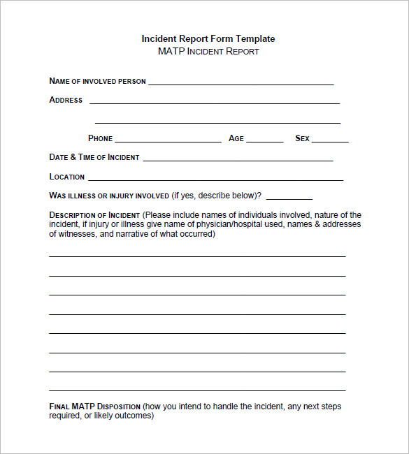 Incident Report Form Template Word 10 Templates Example Templates Example