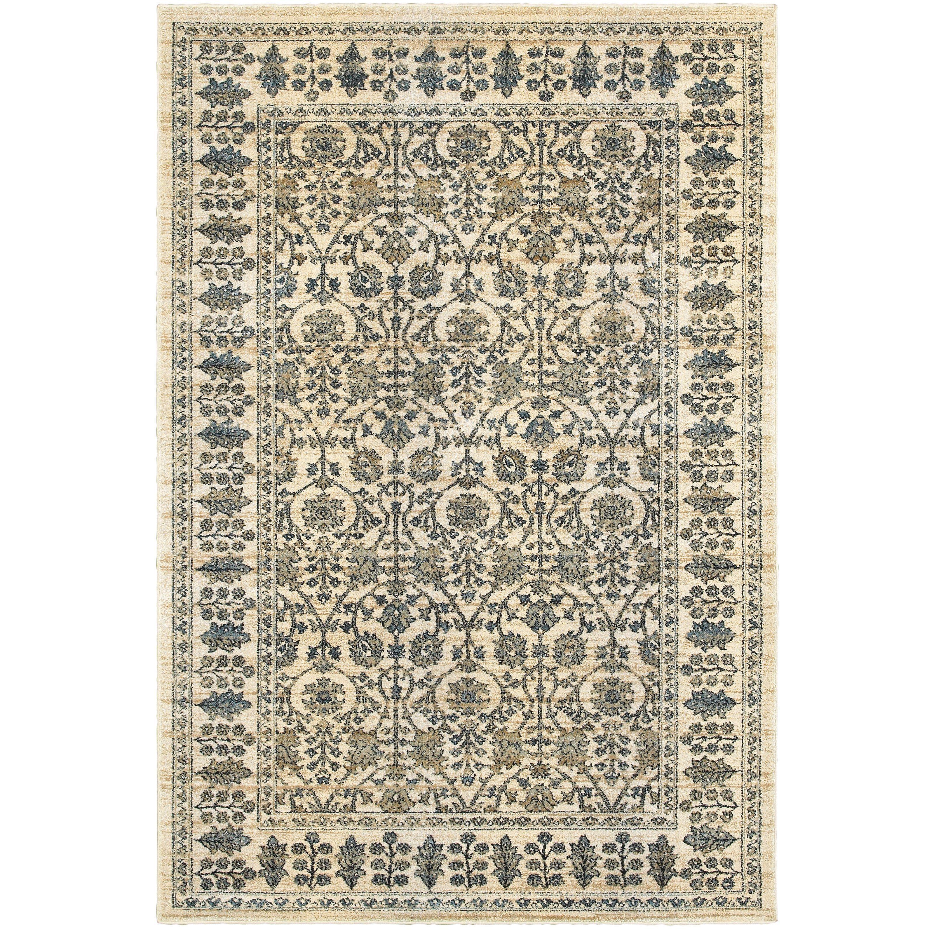 Oriental Weavers Empire 501u4 Ivory Blue Oriental Area Rug Area Rugs Blue Area Rugs Oriental Area Rugs