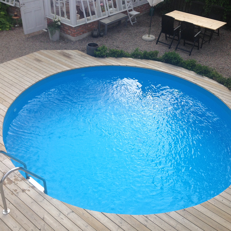 Bygga tralld ck rund pool pool pinterest for Gartenpool eingelassen
