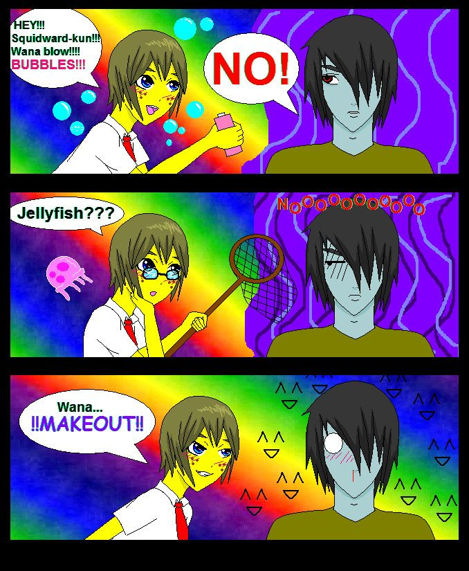 Spongebob and Squidward Memes, Funny memes, Rainbow
