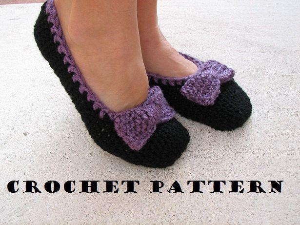 Crochet Slippers With Bow Pattern By Eva Unger Pinterest Crochet