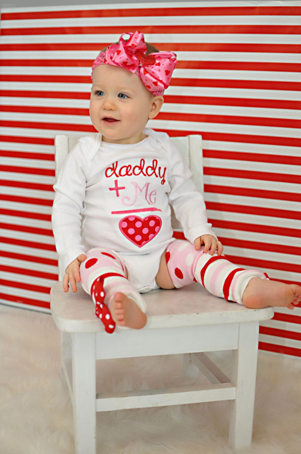 baby girl valentine outfit daddys girl by darlinglittlebowshop - Girls Valentine Outfits