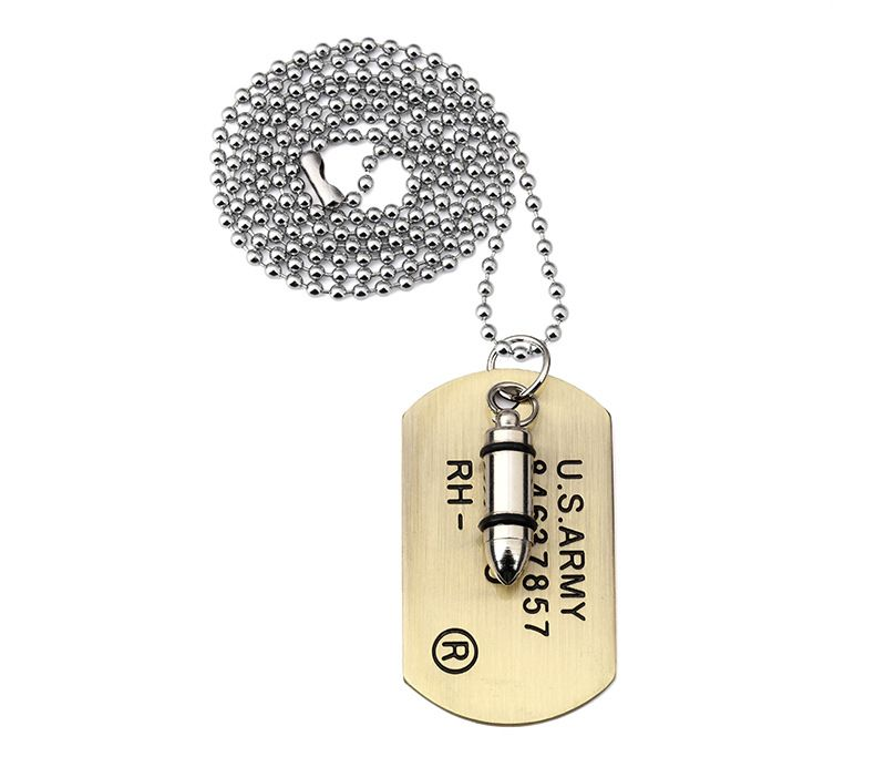 Army bullet dog tag pendant necklace women men punk rock hip hop army bullet dog tag pendant necklace women men punk rock hip hop chains stainless steel cool aloadofball Choice Image