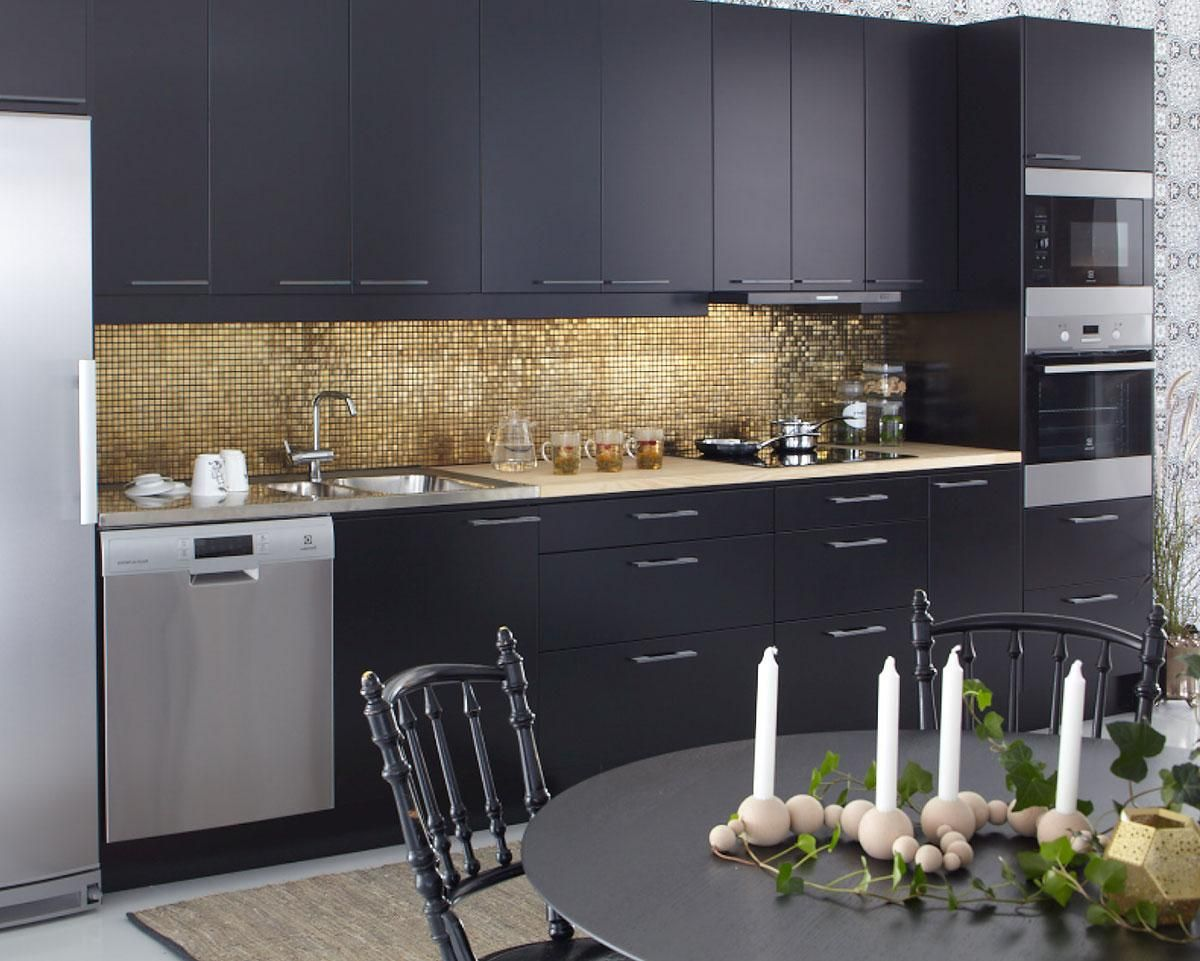 Best Cozy Splendid Kitchen Design With Gold Mosaic Tile Wall 400 x 300