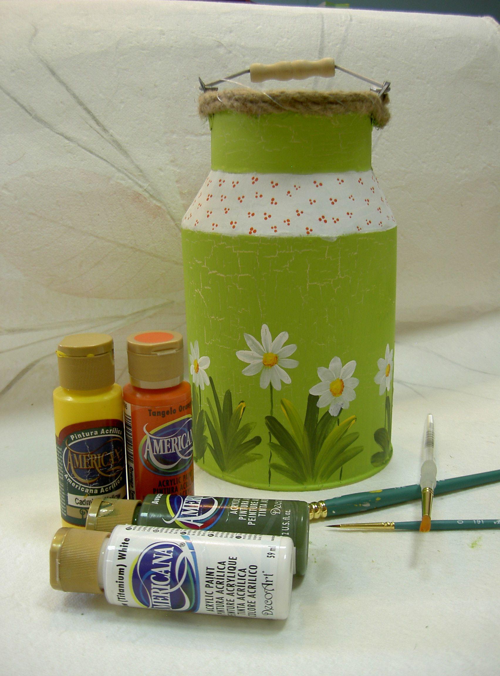 Lechera decorada con pintura acr lica pintura - Pintura acrilica manualidades ...