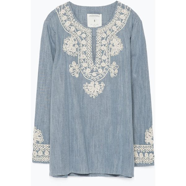5e4422799f412 Zara Embroidered Denim Blouse (105 BRL) ❤ liked on Polyvore featuring tops