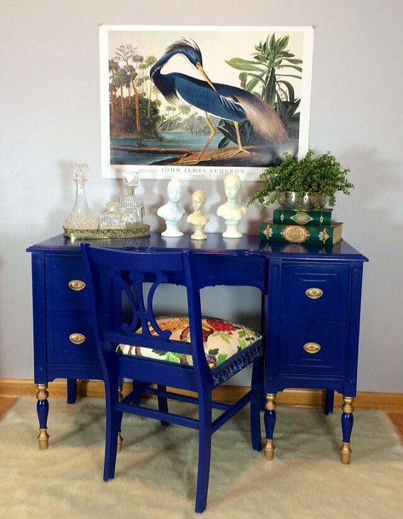 Lavanttehome On Etsy Royal Blue Vintage Desk 800cdn