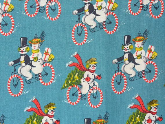 Retro Fabric Snowmen & Snowwomen On Candycane Bicycles Vintage ...