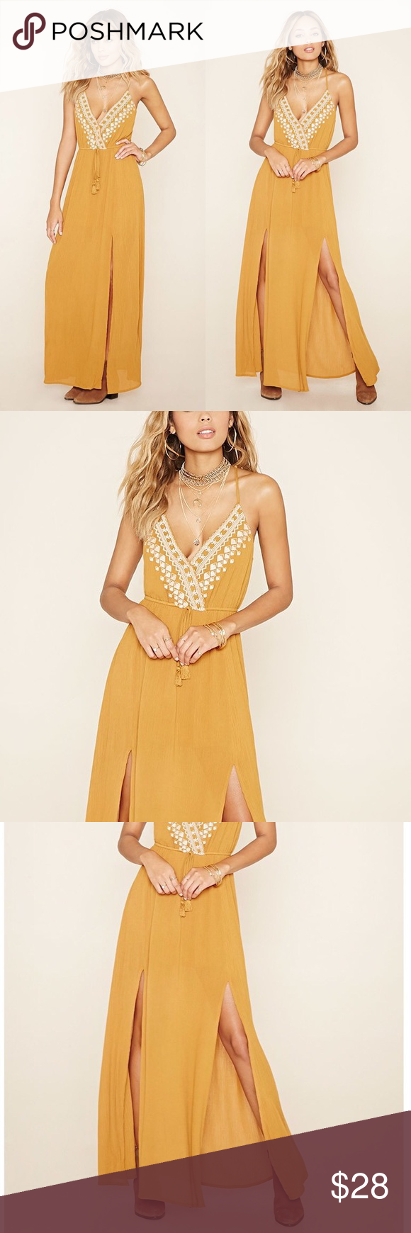 New forever yellow racerback mslit maxi dress my posh picks
