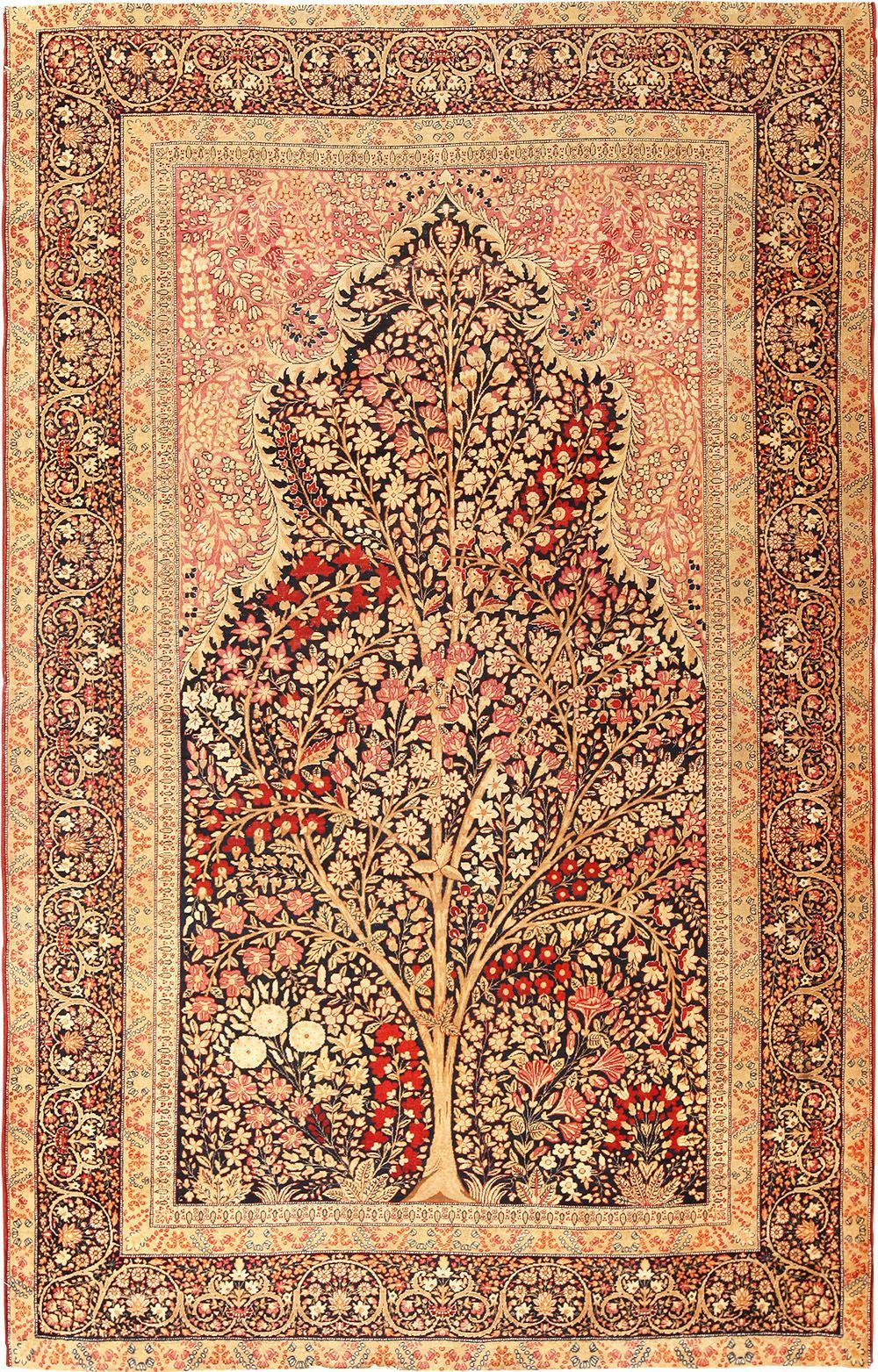 Tree Of Life Design Persian Kerman Rug 49168 By Nazmiyal