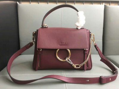 309b9c59c3 2017 Chloe Small Faye Day Double Carry Bag in burgundy smooth   suede  calfskin