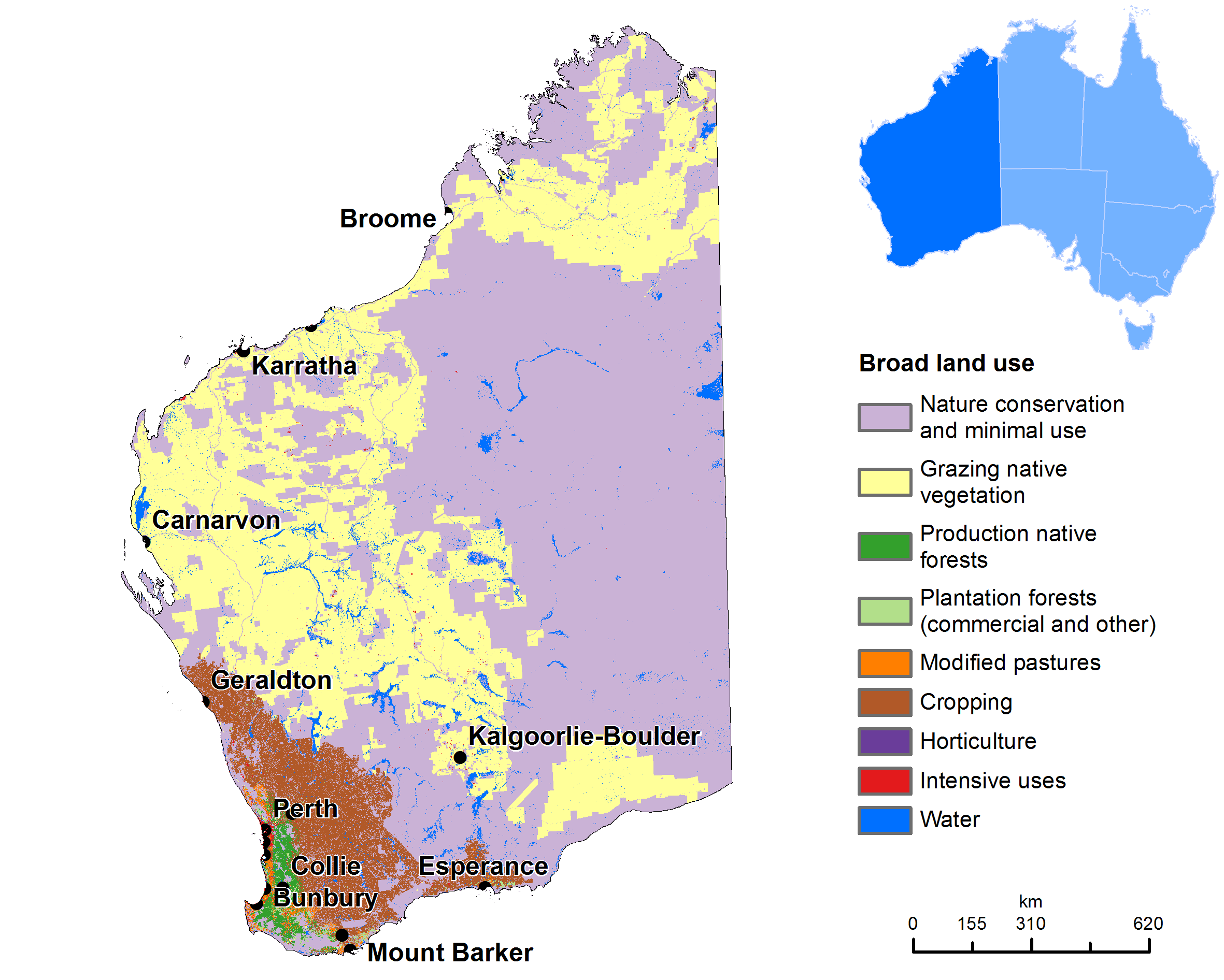 Australia Land Map.Land Use Map Of Western Australia Geo2 Australia Map Western