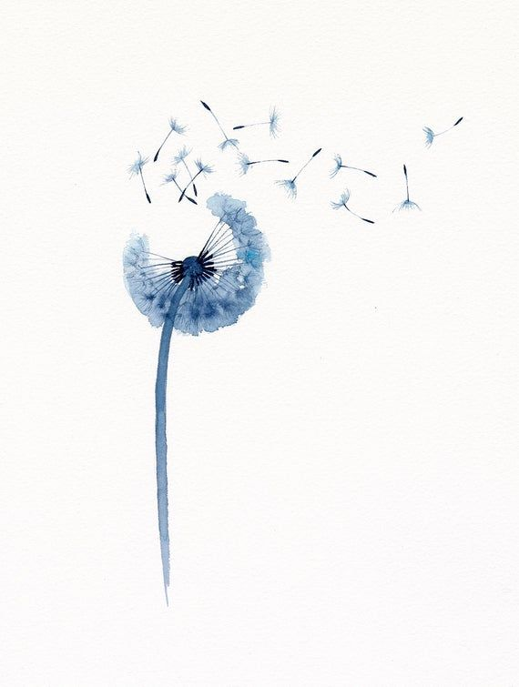Dandelion Original Watercolor Painting Dandelion Seed Illustration Wall Art Botanical Painting Blue Home Decor Dandelion Art Mountain Art Print Watercolor Flowers Paintings