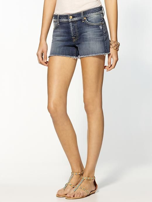 Denim Cut Off Shorts by 7 for All Mankind - I'll live in these over the summer!