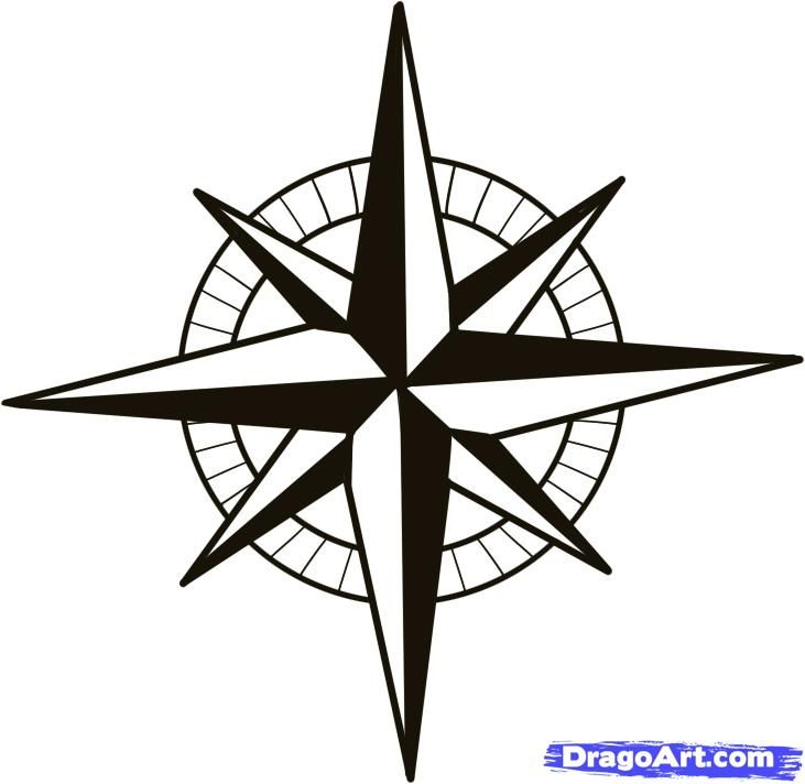 nautical compass pattern | how to draw a compass, compass rose step 5