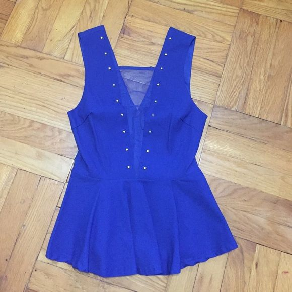 Royal Blue studded Peplum New with tags. Has front V-cut mesh with zippered up back Agaci Tops