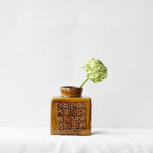 Vintage Vase honigfarbene Keramik