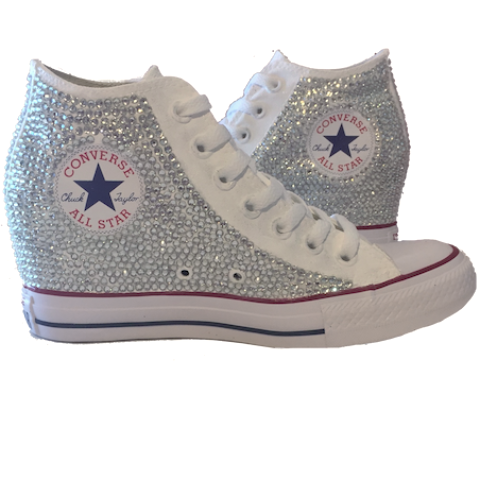 e44b80734d4b0b Womens Sparkly Converse All Stars WEDGE Heel Bling Crystals Bride Wedding  Shoes