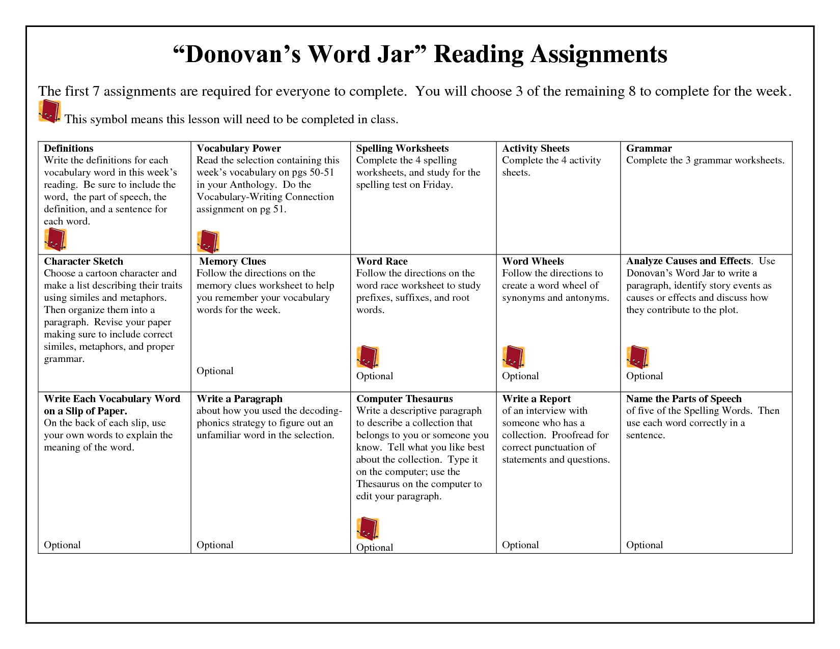 Donovan S Word Jar Lesson Plans