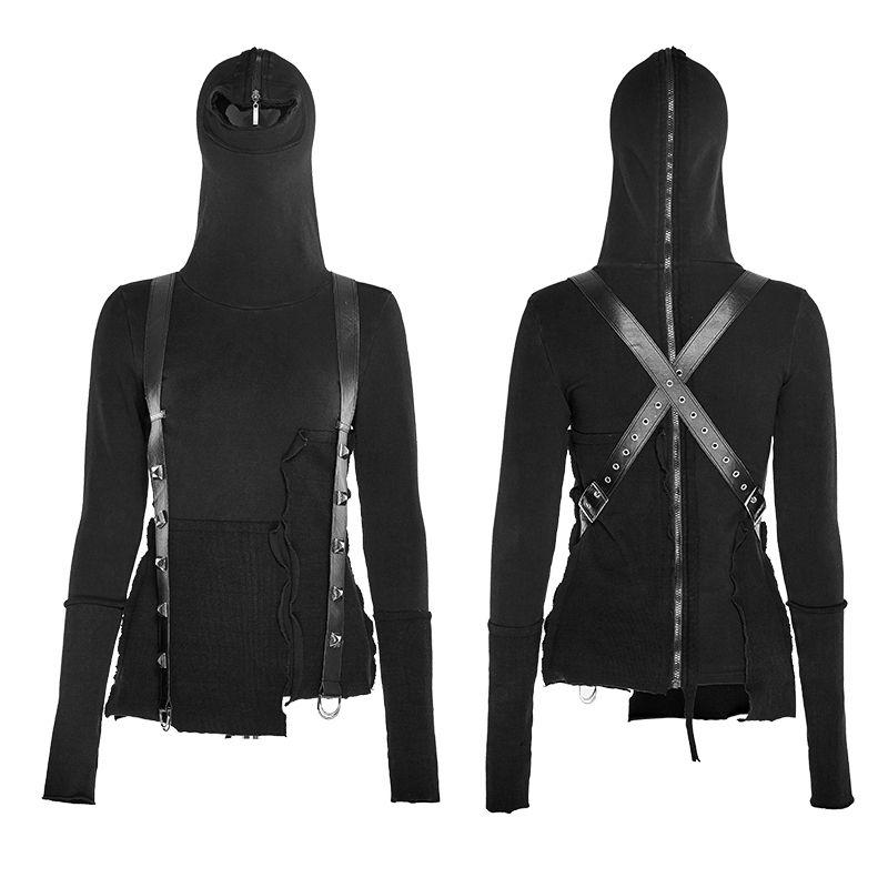 Gothic Punk Sweatjacke Black Hoodie für Herren Punk Rave