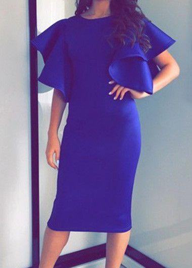 Butterfly Sleeve Royal Blue Sheath Dress | Bridesmaid Dress ...