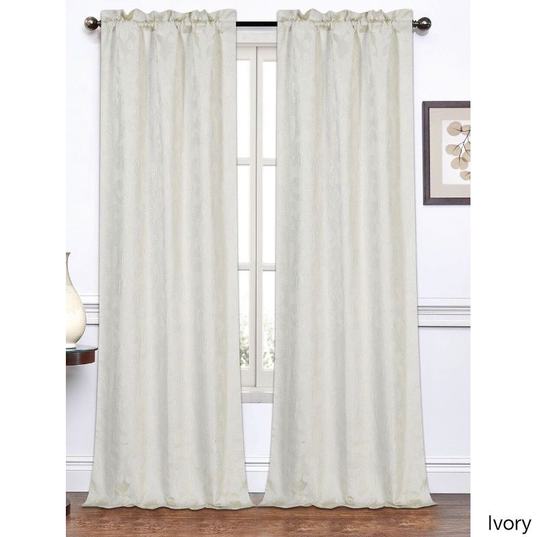 Dainty Home Melanie Jacquard 96 Inch Curtain Panel Pair White Size Inches Polyester Fl