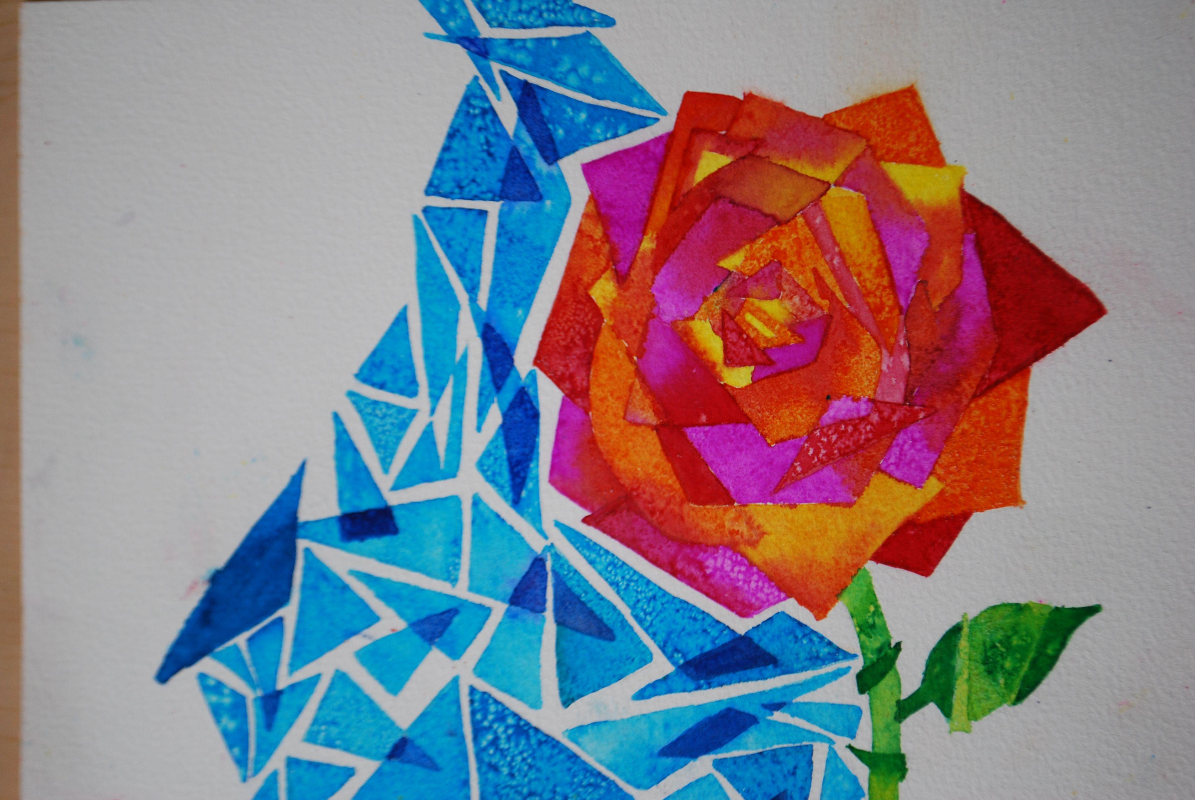 Watercolor Salt Painting Middle School Art Project