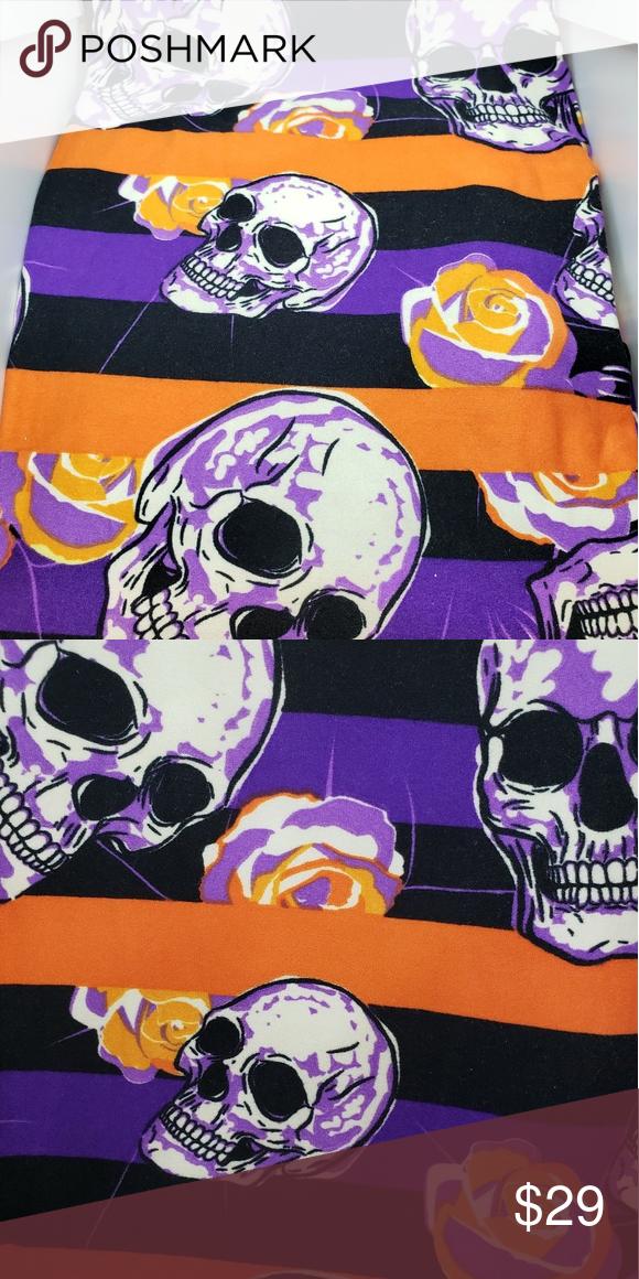 LuLaRoe New Tc2 Tall Curvy 2 Leggings Halloween Green /& Purple Skulls New