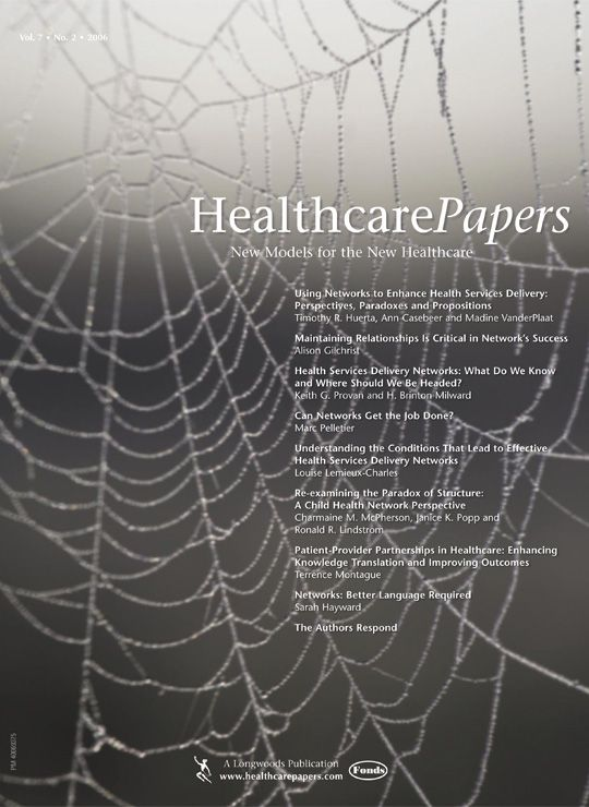 Vol 7 No 2 2006 Using Networks To Enhance Care Healthcare Management Networking Enhancement