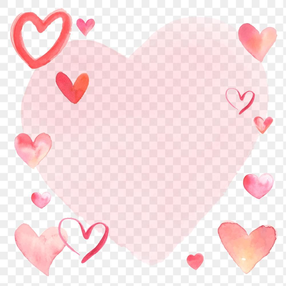Happy Valentine S Day Frame Png With Watercolor Hearts Free Image By Rawpixel Com Namcha In 2021 Happy Valentines Day Valentines Happy Valentine