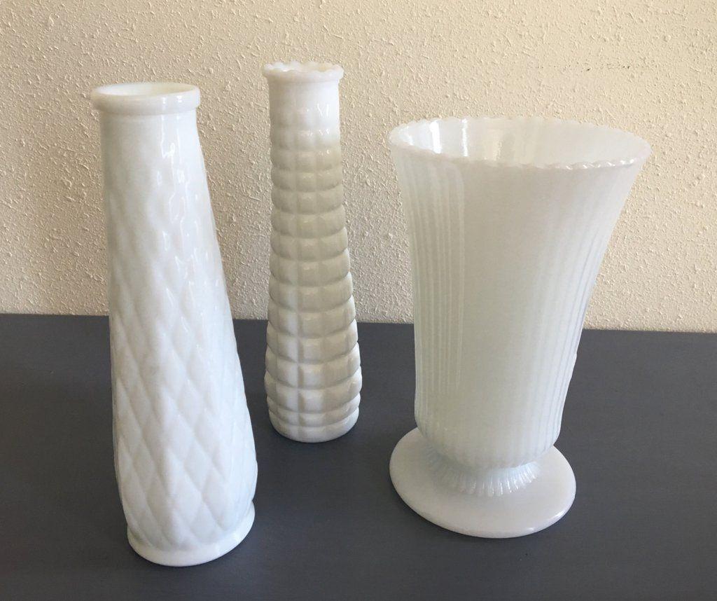 White milk vases images vases design picture set of 3 lovely vintage ep brody white milk glass vases circa set of 3 lovely reviewsmspy