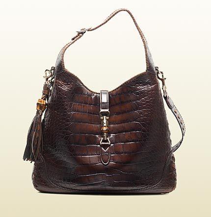 GUCCI New Jackie Brown Crocodile Shoulder Bag